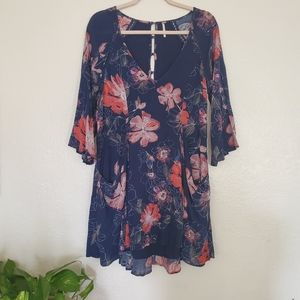 Free People Eyes On You Navy Floral Dress